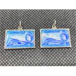 2x rare Gibraltar souvenir enamelled charms in form of Threepenny stamps with QEII head 800 grade
