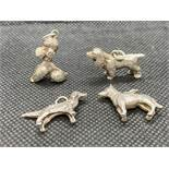 4x silver dog charms 26g