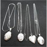 "4x vintage silver lockets all on 18"" silver chains"