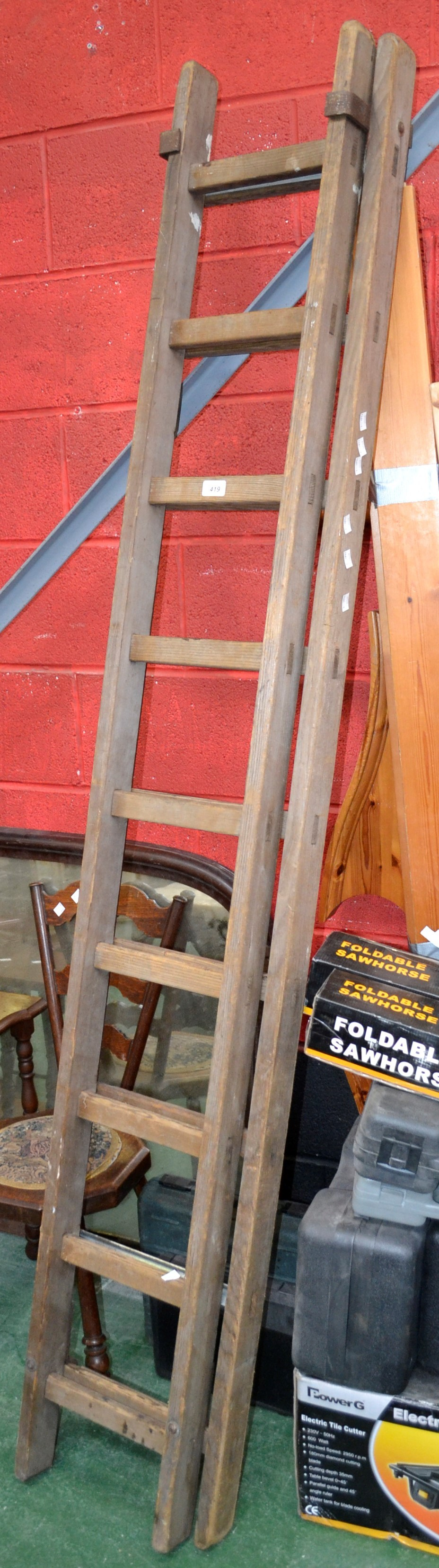 A Vintage Wooden Extension Ladder