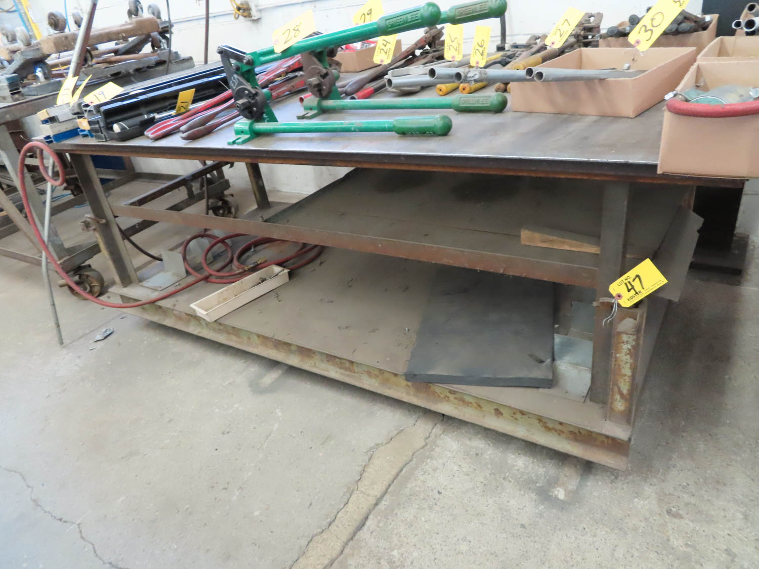 "48"" X 96"" ROLLING TABLE (NO CONTENTS)"