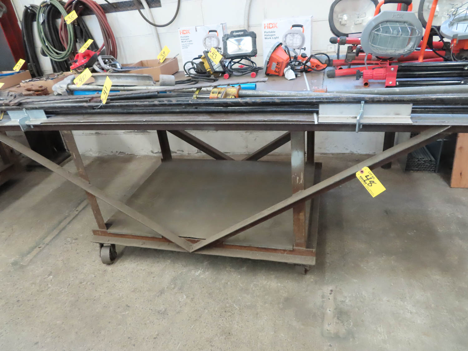 """39"""" X 108"""" ROLLING STEEL TABLE (NO CONTENTS)"""