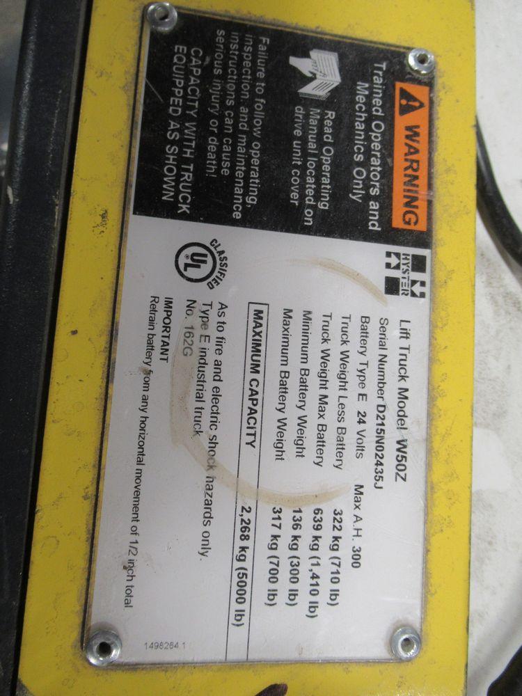 HYSTER W50Z ELECTRIC PALLET JACK, 5,000LB CAP., APPROX. 748HRS, S/N D215N02435J - Image 5 of 5