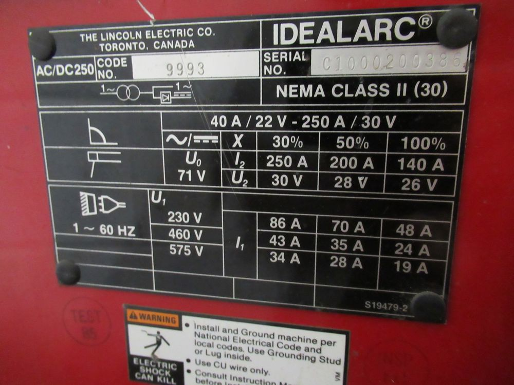 LINCOLN ELECTRIC IDEALARC 250 STICK WELDER, S/N C1000200386 - Image 3 of 5