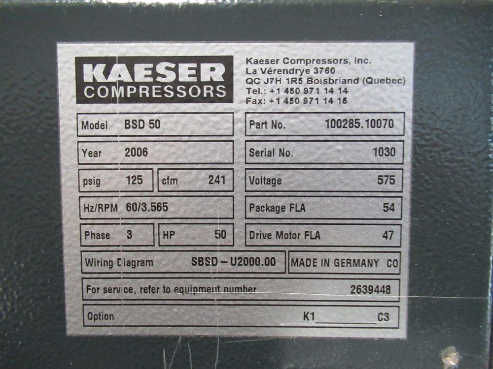 2006 KAESER BSD-50 50HP AIR COMPRESSOR W/ SIGMA CONTROL, S/N 1030 - Image 4 of 4