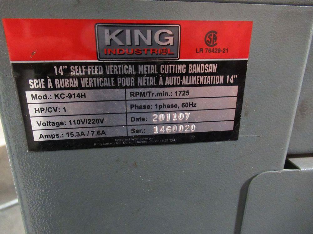 "2011 KING INDUSTRIAL KC-914H 14"" BRT ROLL-IN BANDSAW ON CASTORS W/ SAW BLADES, S/N LR76429-21 - Image 4 of 4"