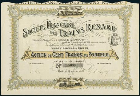 Lotto 104 - Société Francaise des Trains Renard. Action F 100, Paris, 29 Janvier 1907. #15099. Charles Renard (