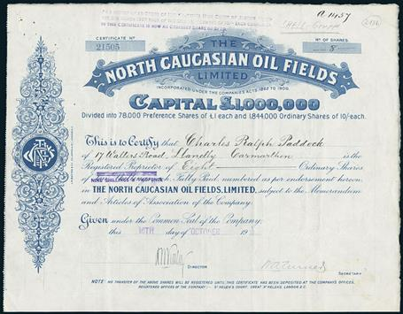 Lot 66 - North Caucasian Oil Fields Limited. Certificate 8 Shares. 16. October 1919. #21505. The company was