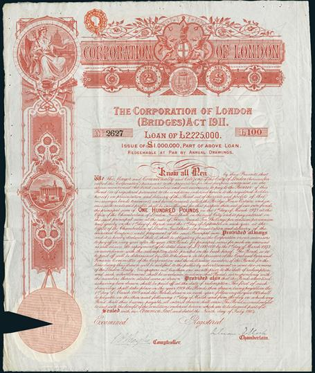Lot 70 - The Corporation of London (Bridges) Act 1911. Bond £100, 9. July 1914, #2627. Large format with arm