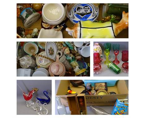 A PARCEL OF CHINA - quantity of small china animals and small containers ETC.  MIXED CHINA & POTTERY, a large box includi