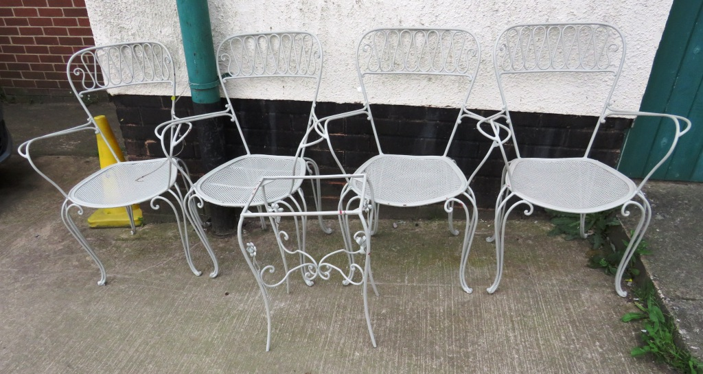 Lot 29 - FOUR GREY PAINTED METAL GARDEN CHAIRS AND SMALL TABLE (NO GLASS TOP)