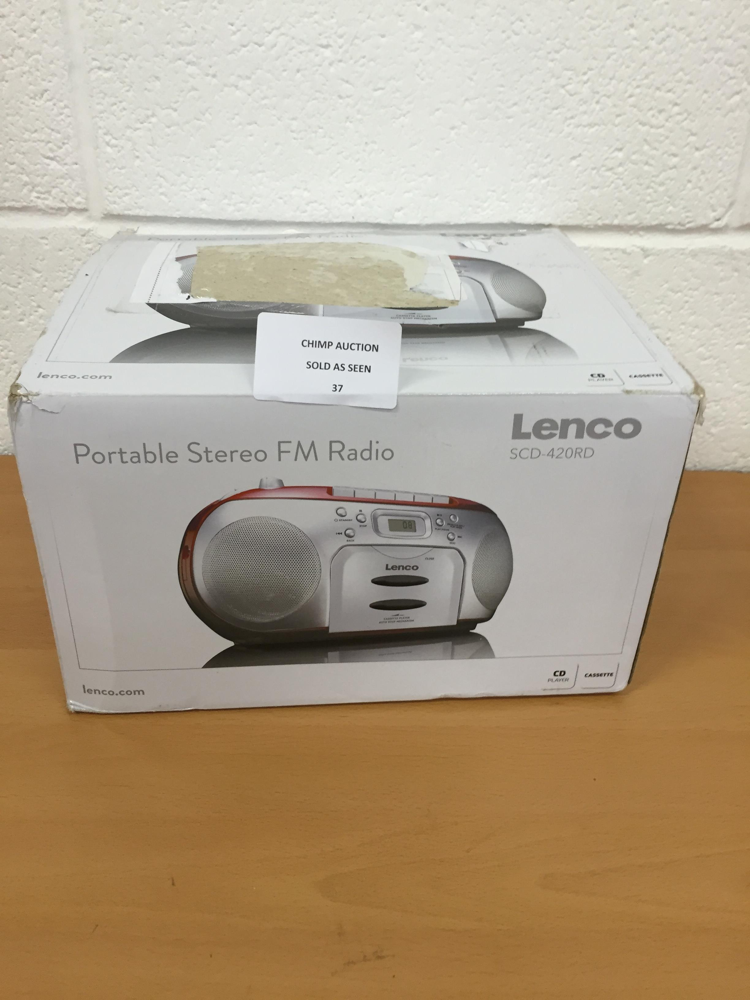 Lot 37 - Lenco SCD-420RD | Portable Stereo FM Radio with CD Player and Cassette