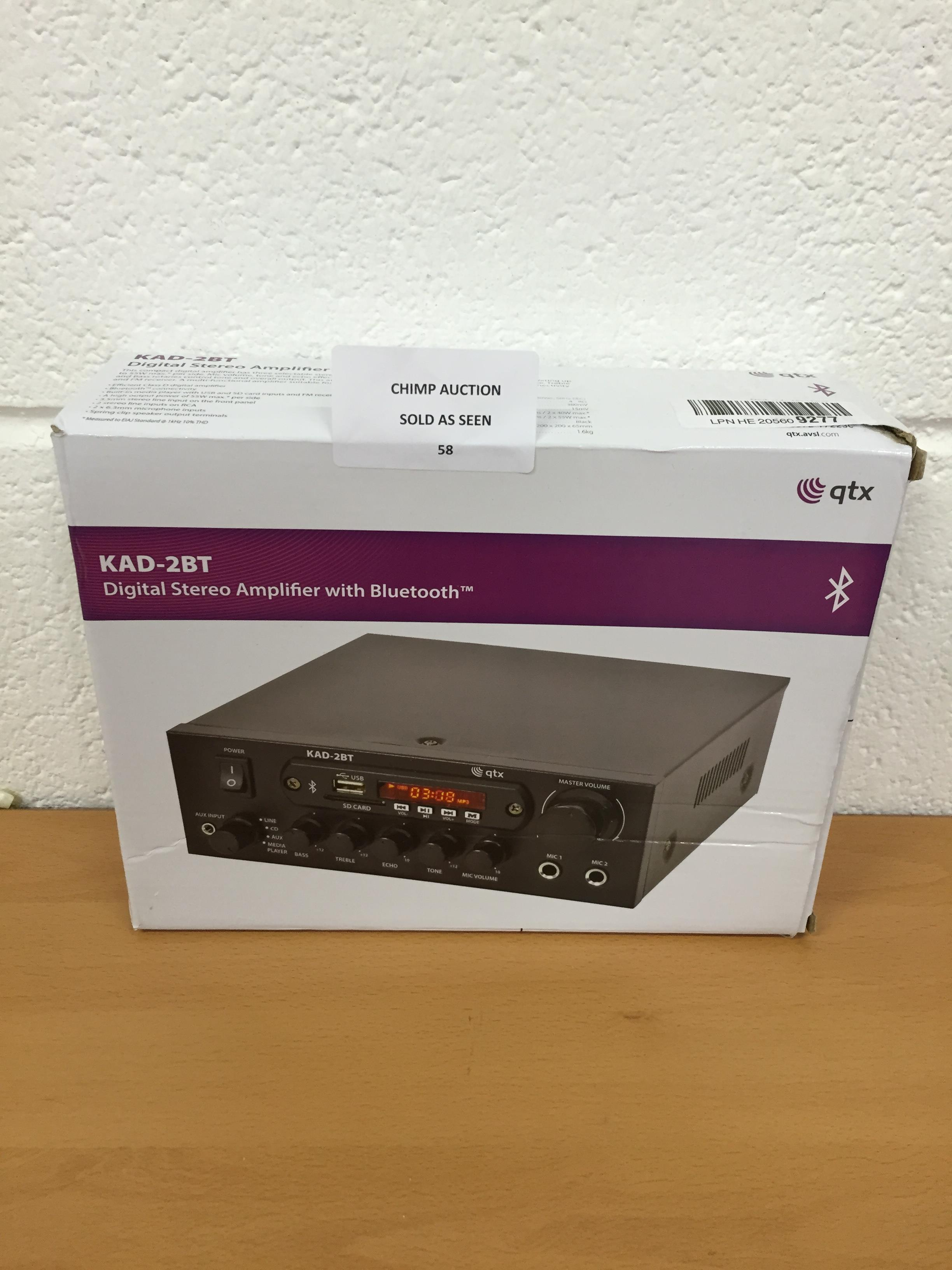Lot 58 - QTX KAD-2BT Digital Stereo Amplifier With Bluetooth RRP £69.99.