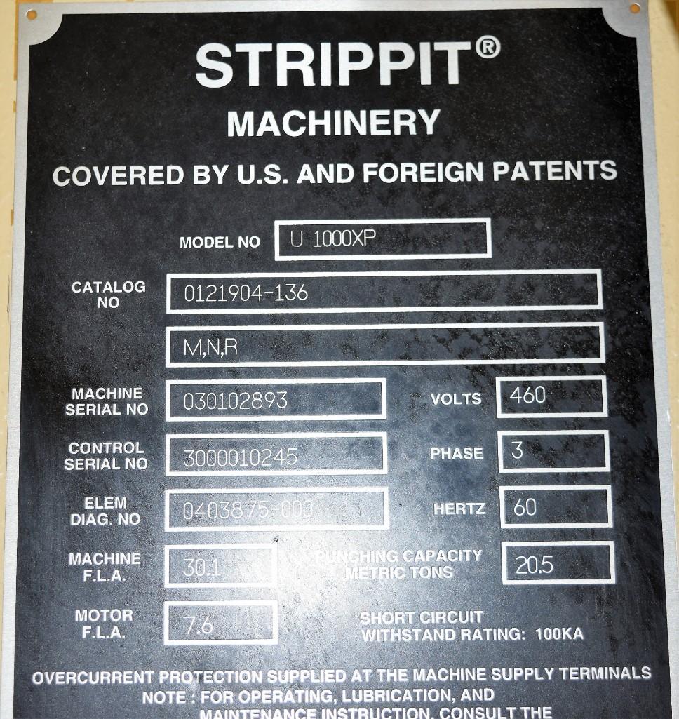 Strippit 20-Ton LVD U1000XP20 CNC Turret Punch S/N: 030102893 - Image 10 of 11
