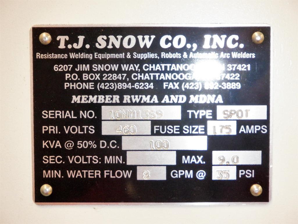 "T.J. Snow 18"" (est.) Slim Line Horn Style 100-KVA Pneumatic Aluminum Spot Welder S/N: 10NM1369 - Image 7 of 13"