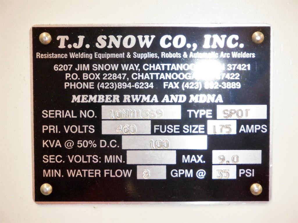 "T.J. Snow 18"" (est.) Slim Line Horn Style 100-KVA Pneumatic Aluminum Spot Welder S/N: 10NM1369 - Image 13 of 13"