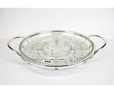 A boxed Lalique silver plate and glass hors d'oeuvre dish, W. 41cm.