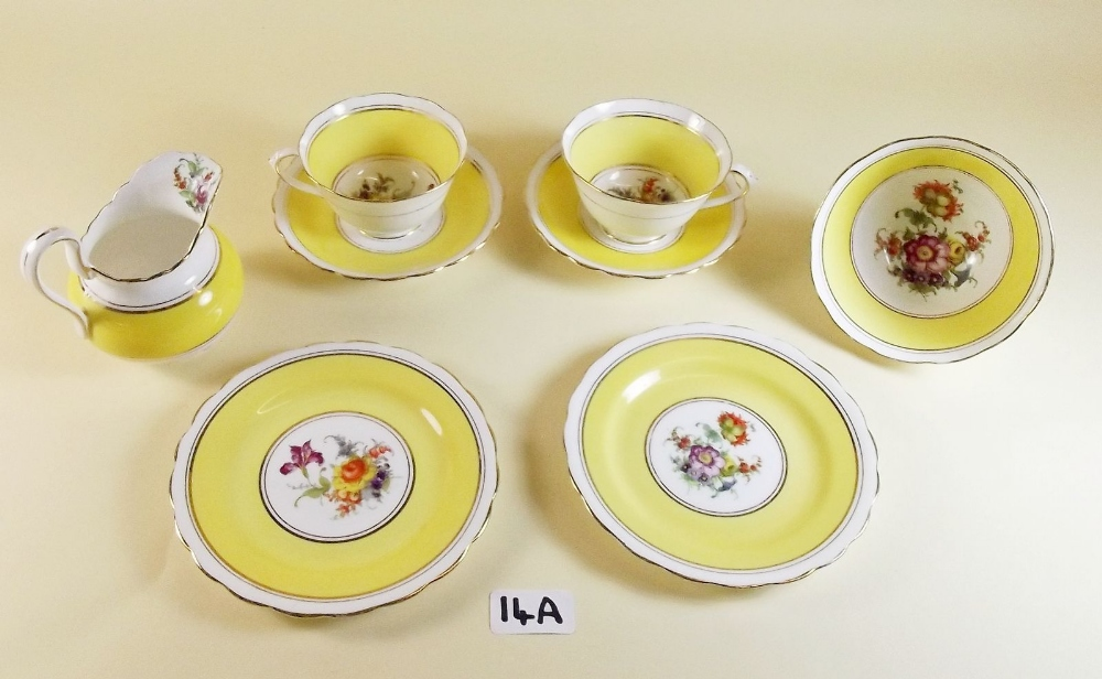 Lot 14A - A New Chelsea yellow floral teaset comprising: six cups and saucers (1 a/f), six tea plates, jug and
