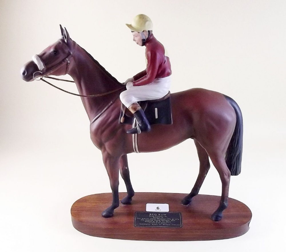 Lot 6 - A Beswick Connoisseur group of Red Rum with Brian Fletcher Up on a wooden base
