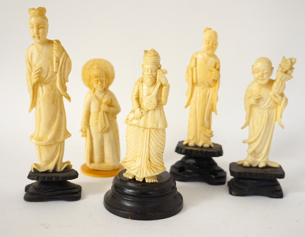 Lot 366 - CAMBODIAN CARVED IVORY FIGURE of a Buddha, 8.