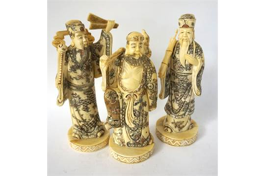Three Chinese Carved Bone Figures Of Immortals One An Old Man Holding A Bamboo Tube 20cm High O