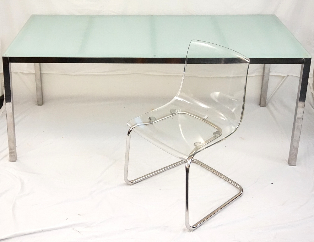 Lot 500 Ikea Torsby Dining Table With An Opaque Gl Top On A Chrome Stand