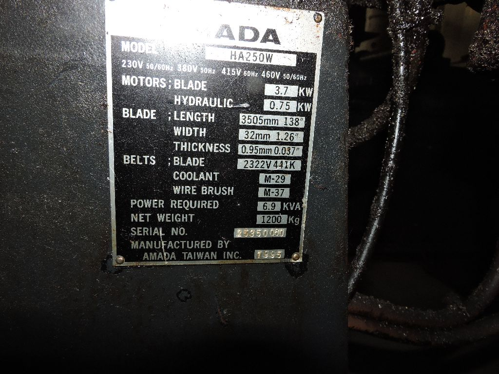 1995 Amada bandsaw model HA250W, s/n 2535060. - Image 8 of 10