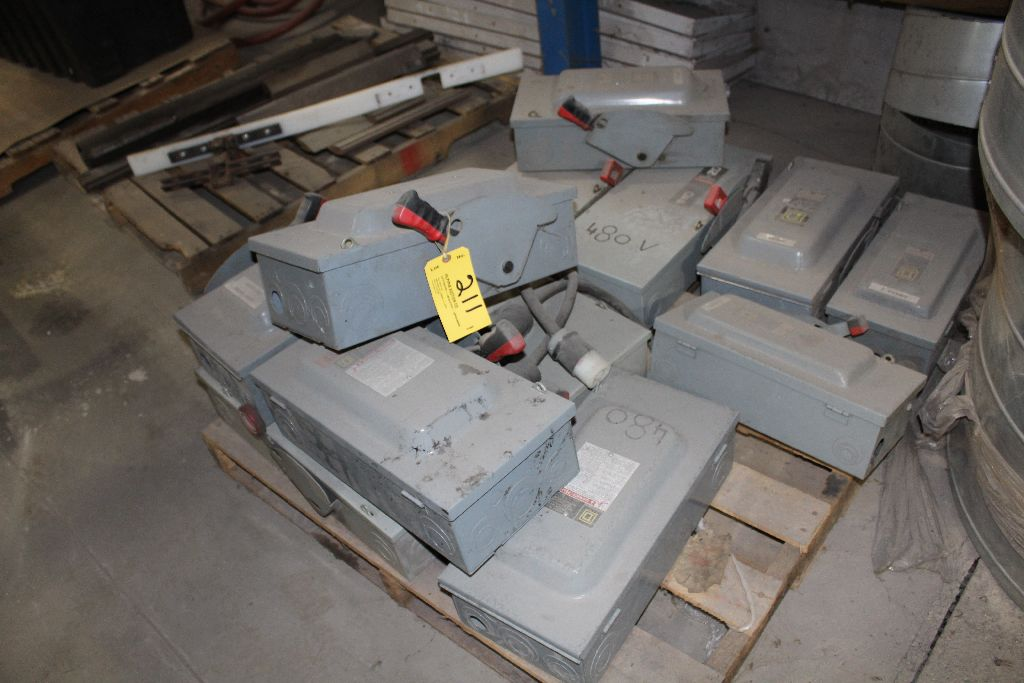 (12) Square D control boxes, (used).