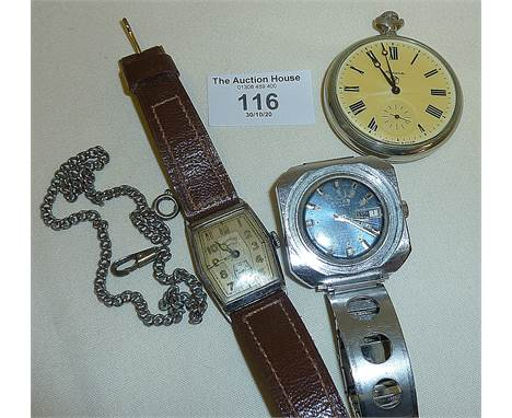 WW2 Ladies Services Art Deco wristwatch, vintage Buler Pinguin stainless steel watch and a Russian MOLNIJA pocket watch