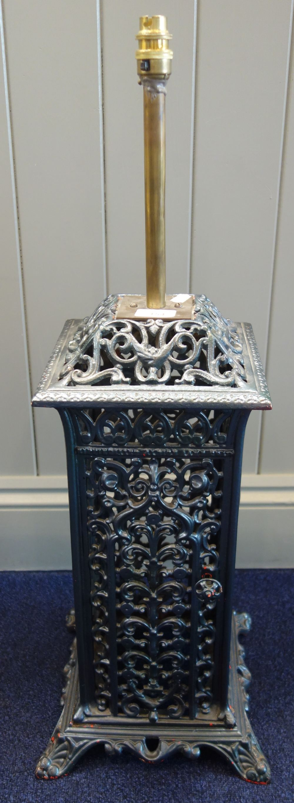 Lot 154 - A VICTORIAN CAST IRON CONSERVATORY HEATER (converted to a lamp)