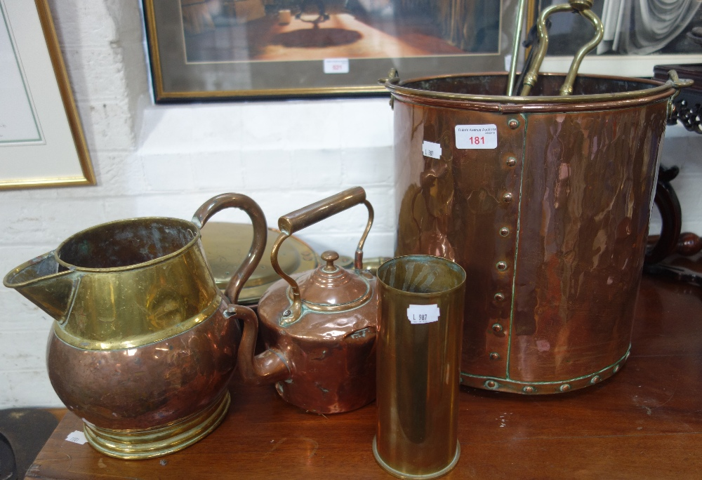 Lot 181 - A COPPER COAL BUCKET, a warming pan and similar metalware
