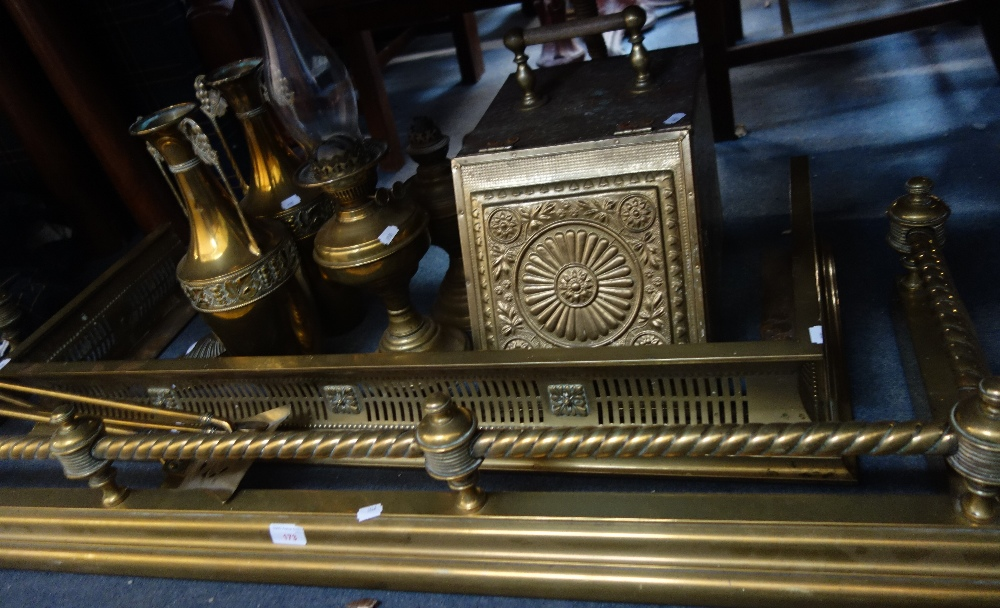 Lot 173 - A VICTORIAN BRASS FENDER, a Victorian brass coal box and similar metalware