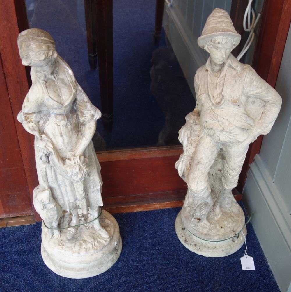 Lot 4 - A PAIR OF RECONSTITUTED STONE GARDEN FIGURES, 59cm high