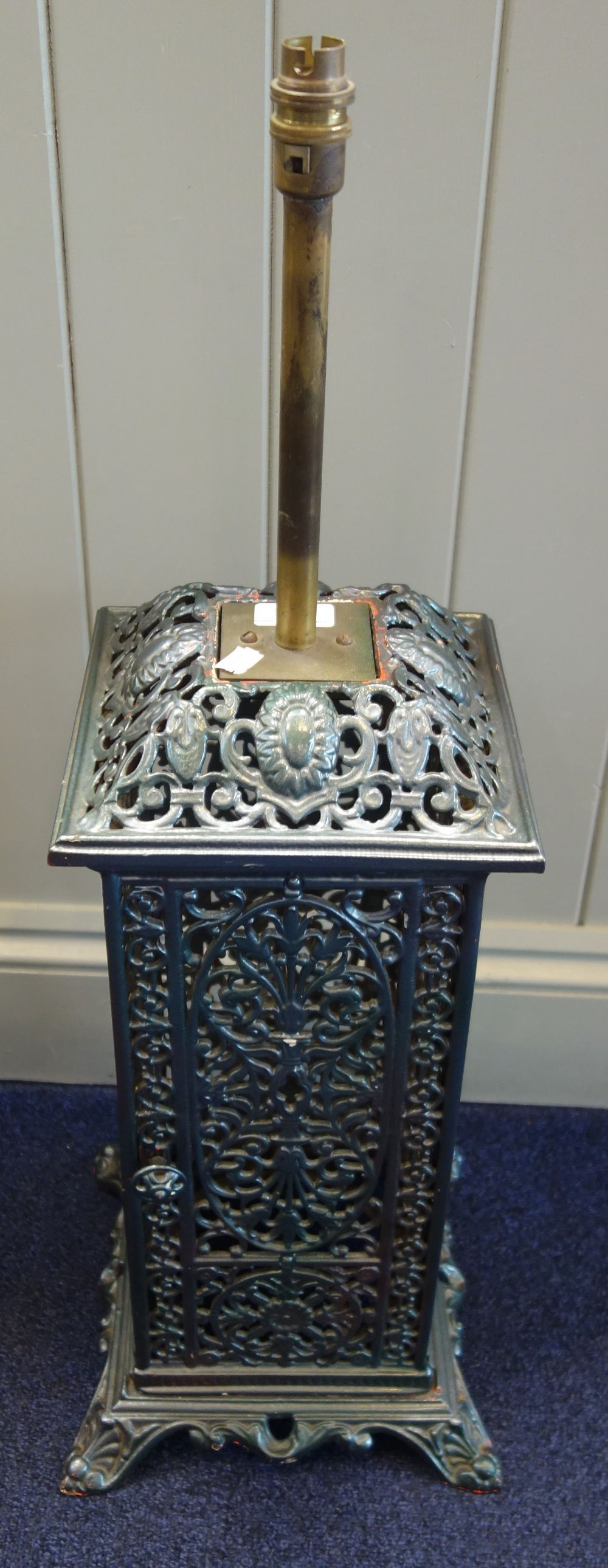 Lot 155 - A VICTORIAN CAST IRON CONSERVATORY HEATER (converted to a lamp)