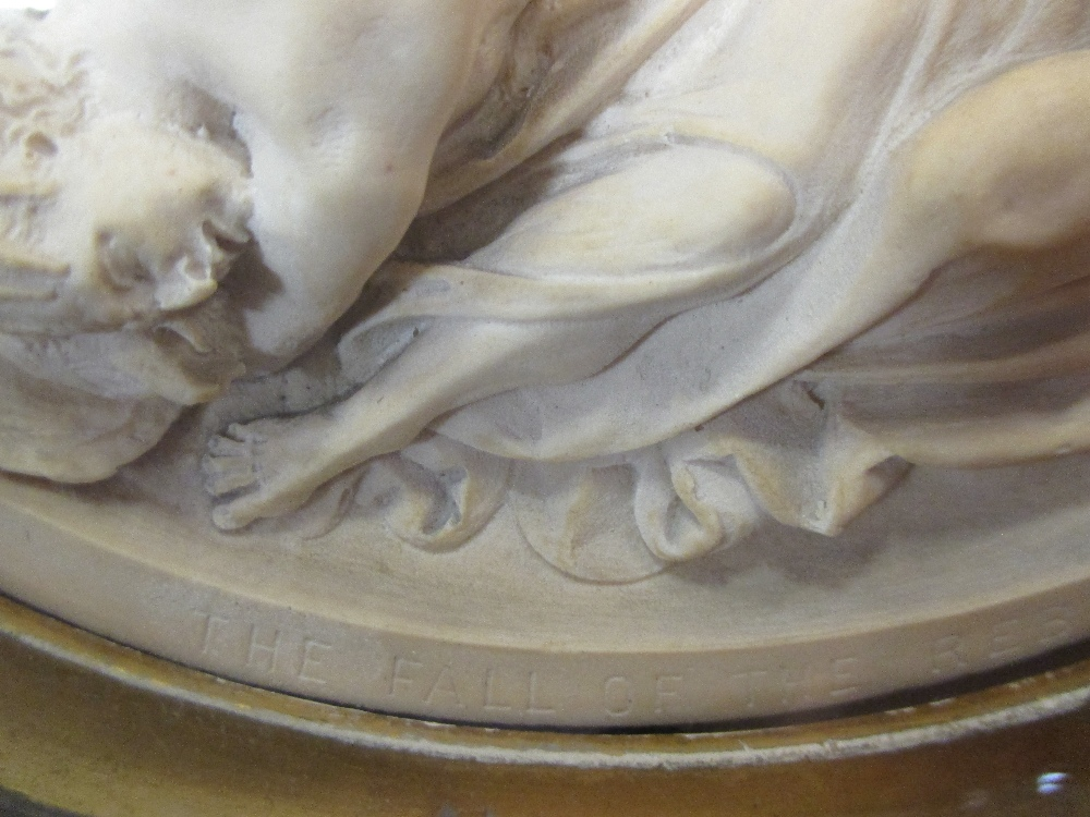 Lot 105 - Robert Jefferson - a circular parian wall plaque 'The Fall of the Rebel Angels' 30cm inc. frame; and