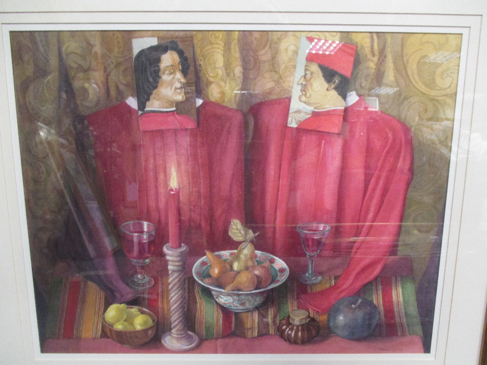 Lot 25 - Janet Skea (British, b. 1947) 'The Patron and the Courtier', watercolour, 43 x 53cm; Laetitia