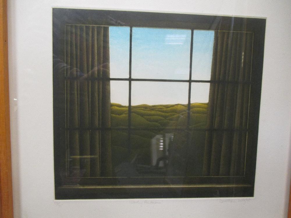 Lot 26 - Michael Carlo (British, b.1945) 'Flaming Field', silkscreen, 34 x 46cm; Ailsa Kennedy 'Beaumont