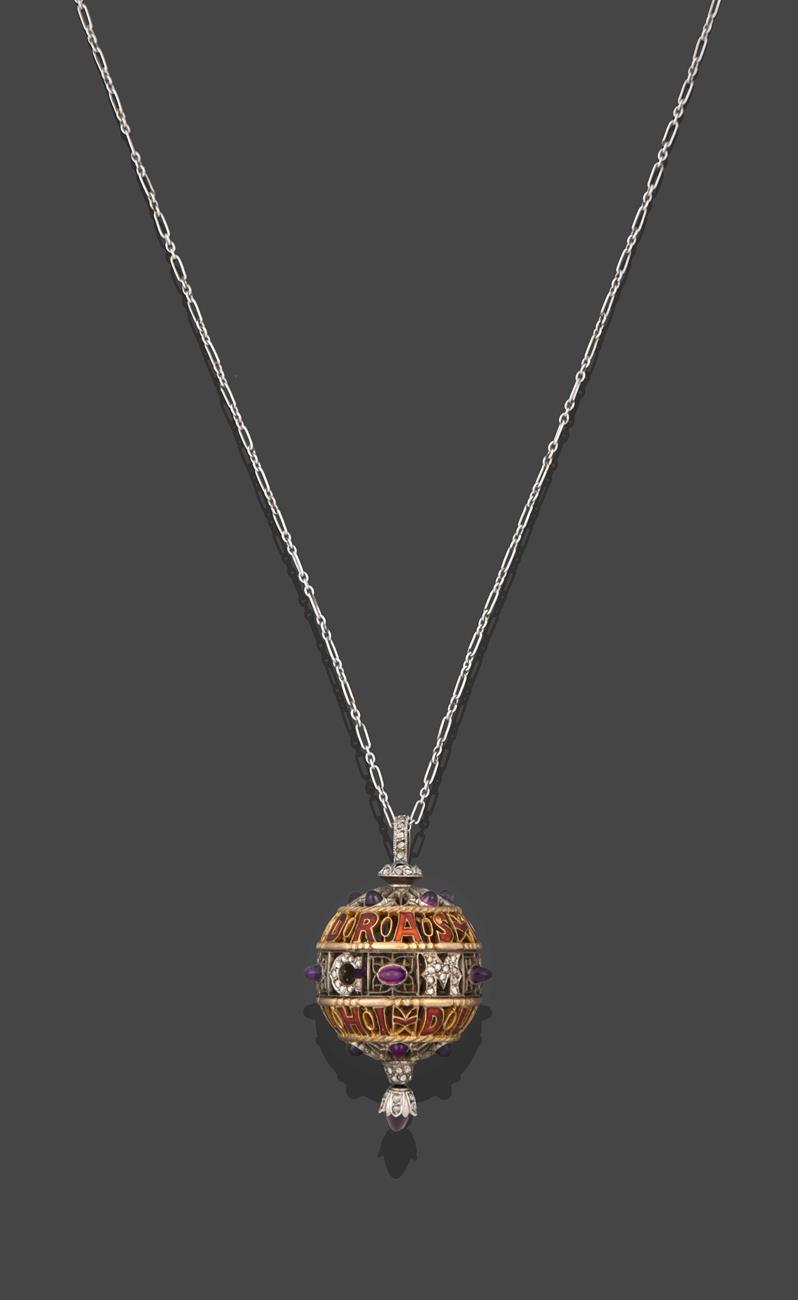 An Amethyst, Diamond and Enamel Pendant on Chain, 1911, the openwork ball with red enamel