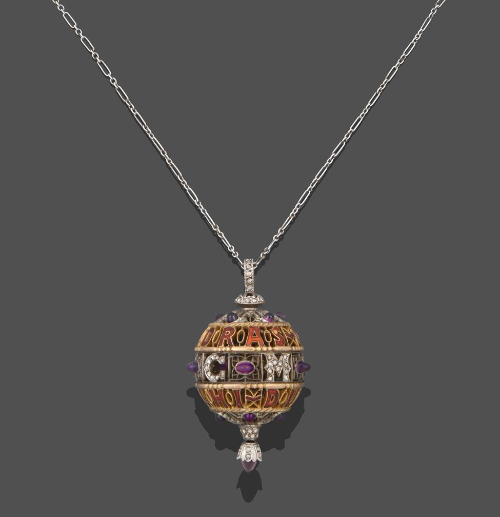 An Amethyst, Diamond and Enamel Pendant on Chain, 1911, the openwork ball with red enamel - Image 2 of 8