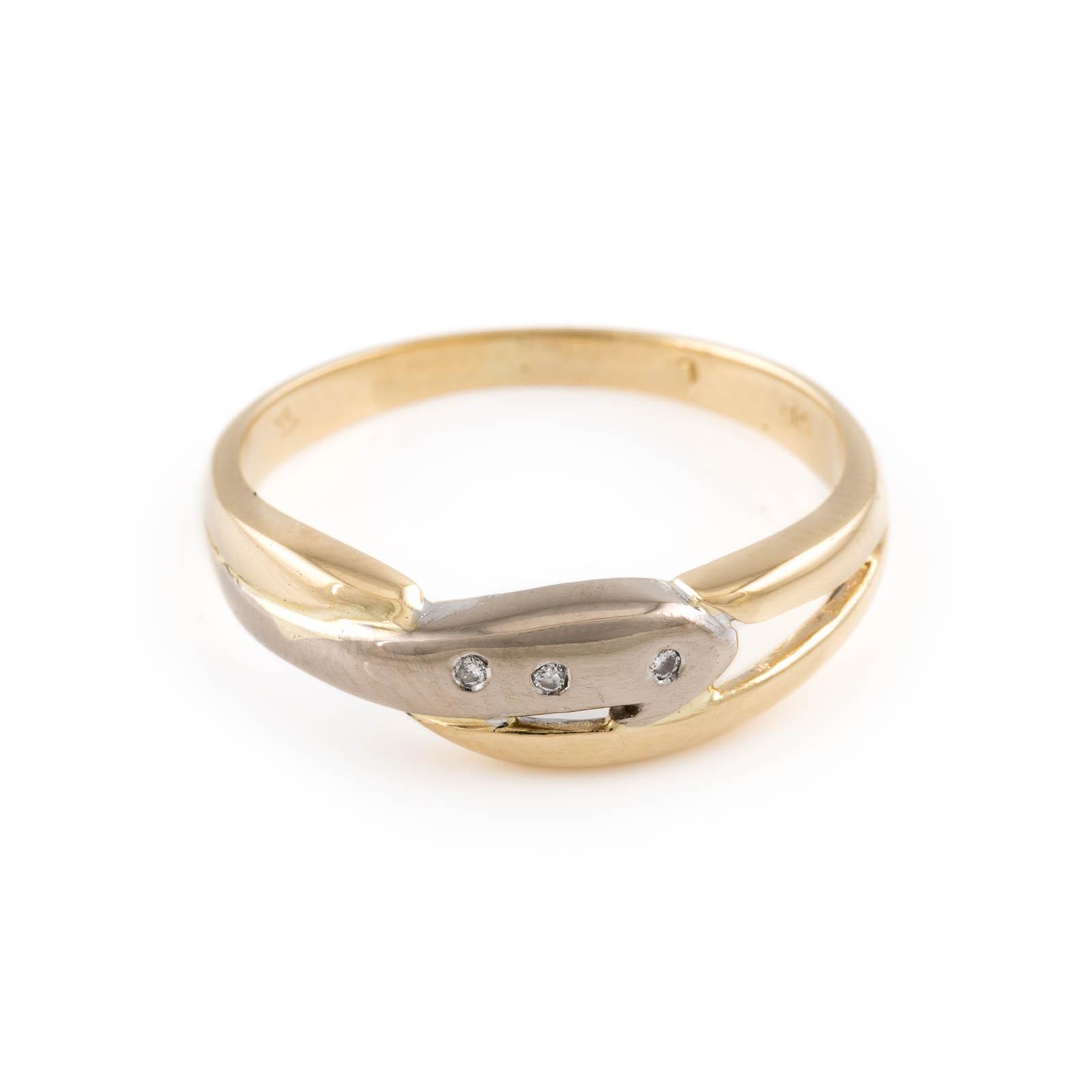 DIAMANT-RING Gelbgold, Weißgold. Ringmaß ca. 56, Ges.-Gew. ca.2,7 g. Gest. 585, Herstellersignet.
