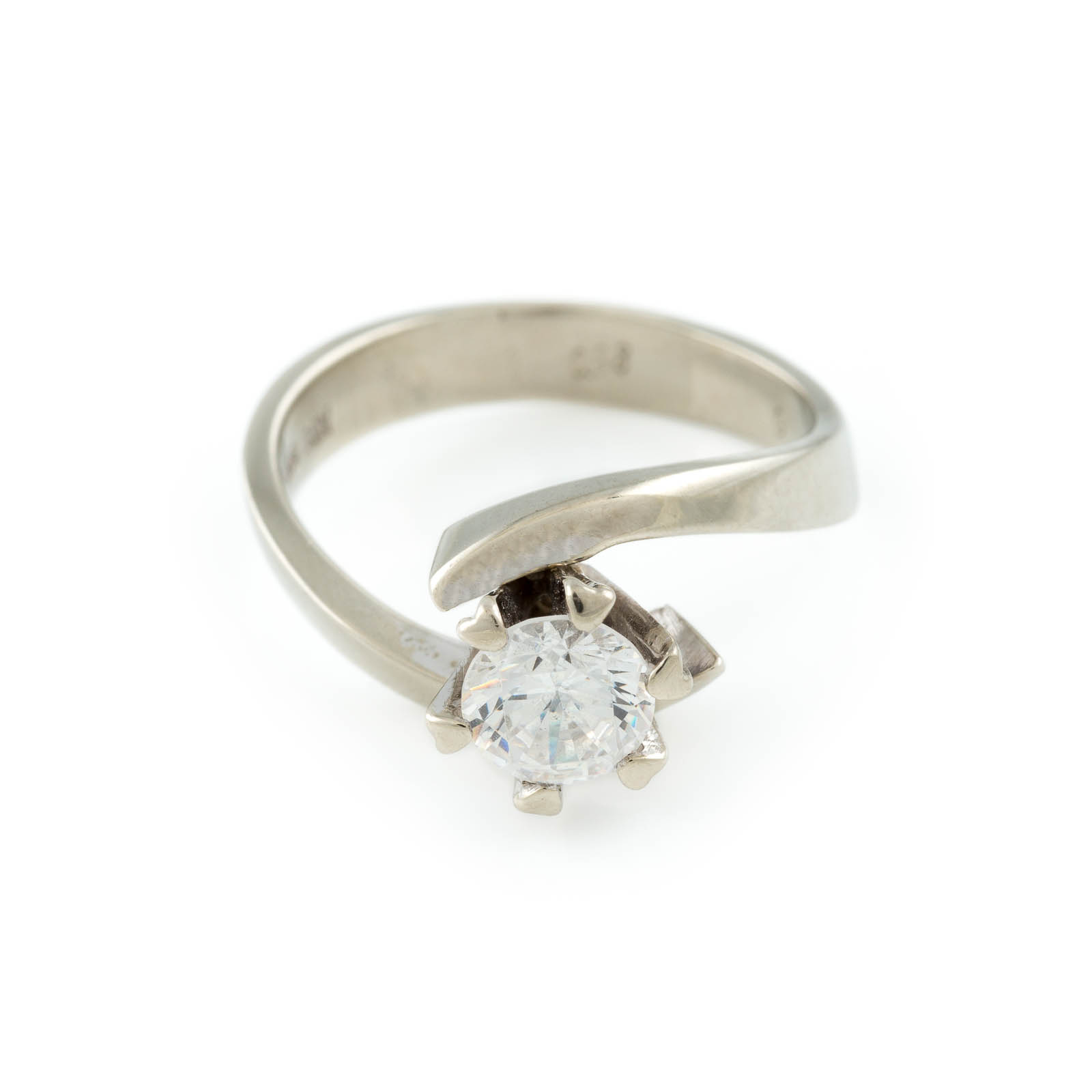 BRILLANT-RING Weißgold. Ringmaß ca. 54, Ges.-Gew. ca. 4,5 g. Gest. 585, Caratangabe des Diamanten,