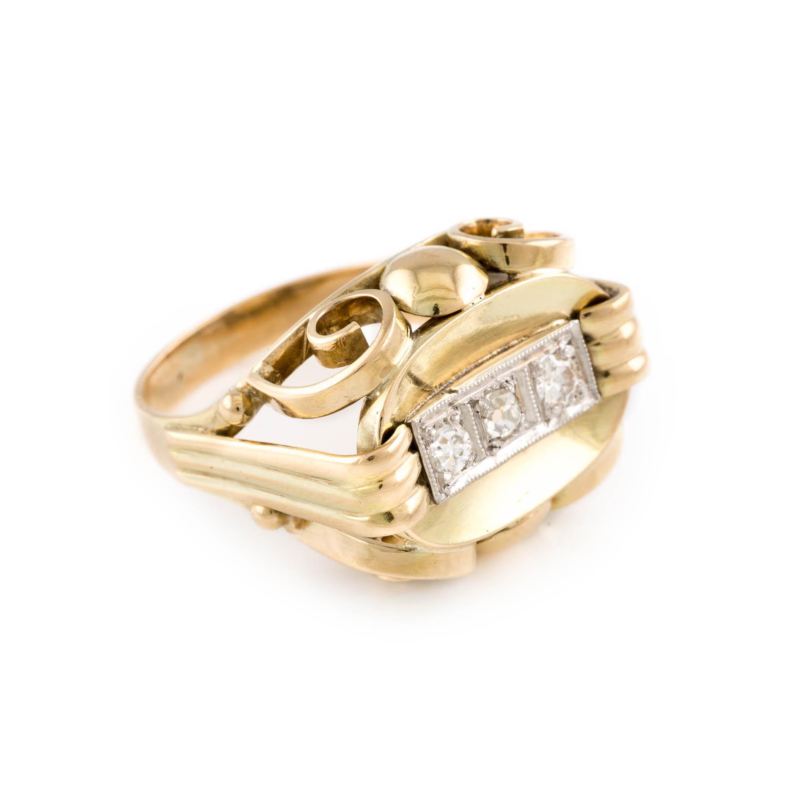 DIAMANT-RING Gelbgold. Ringmaß ca. 55, Ges.-Gew. ca. 6,9 g. Gest. 585. Drei Diamanten im 8/8- und - Image 2 of 2
