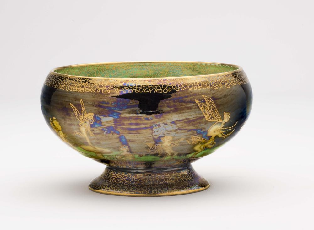 """Lot 51 - A WEDGWOOD FAIRYLAND LUSTRE """"EMPIRE"""" BOWL designed by Daisy Makeig-Jones, the interior with """"Elves"""