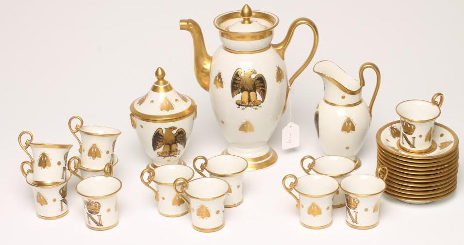 """Lot 29 - A FRENCH PORCELAIN COFFEE SERVICE, c.1900, in Empire style copying the Sevres """"Napoleon"""" service and"""