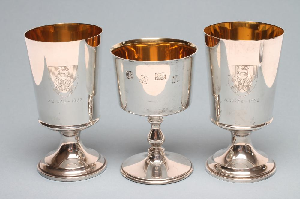 Lot 70 - A PAIR OF RIPON CATHEDRAL SILVER GOBLETS, maker Barker Ellis, Birmingham 1971, the plain flared
