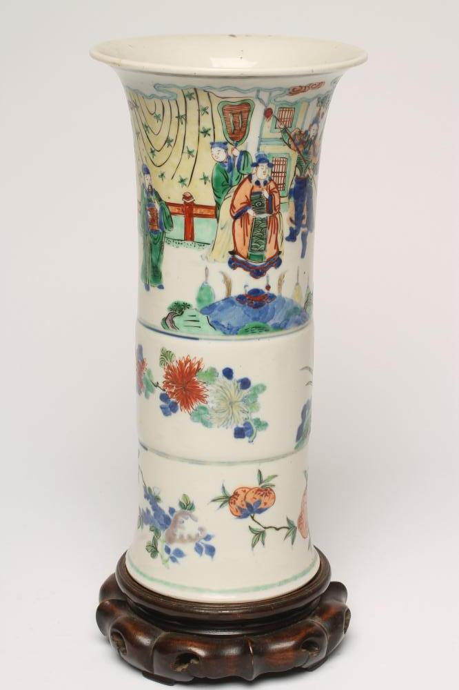 Lot 7 - A CHINESE PORCELAIN BEAKER VASE painted in famille verte enamels with figures over fruiting peach
