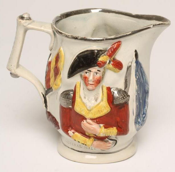 "Lot 14 - OF MILITARY INTEREST - a pearlware jug, early 19th century, moulded in relief with ""Marquis"