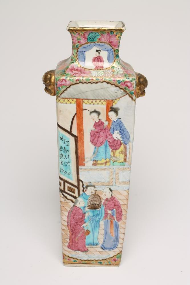 Lot 3 - A CANTONESE PORCELAIN VASE of flared square section with gilded animal mask lug handles, painted