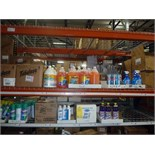 LOT OF CLEANING SUPPLIES: Fabuloso, Lysol, Spray Away glass cleaner, Ajax, Rain-X windshield wiper