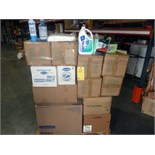 LOT OF CLEANING SUPPLIES: glass cleaner, liquid dish soap, 409 degreaser, waterless cleaning
